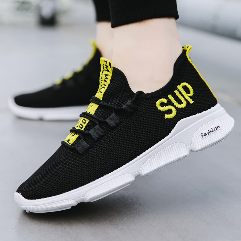 Fashion Breathable Mesh MEN'S SHOES 2018 New Style Korean-style Trend Lettered Embroidered Athletic Shoes Mesh Running Shoes