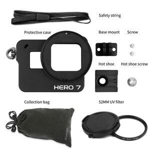 Image 5 - לירות CNC אלומיניום סגסוגת מגן מקרה הר עבור GoPro גיבור 7 6 5 שחור כלוב עם UV מסנן עבור ללכת פרו גיבור 7 6 5 אביזרים