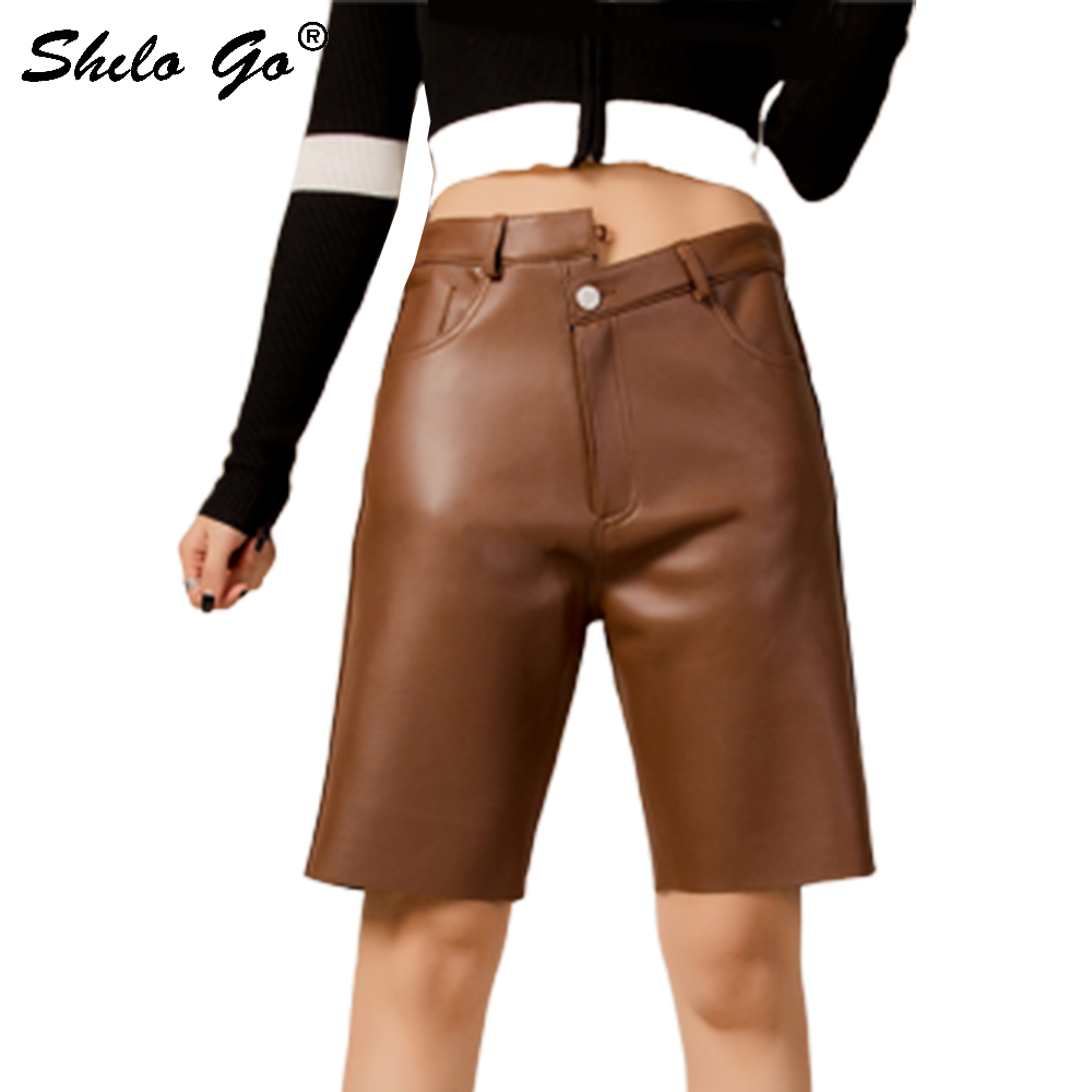 Genuine Leather Pants Highstreet Multicolor Button Sheepskin Knee Length Pants Women Autumn Winter Casual Solid Boots Trousers