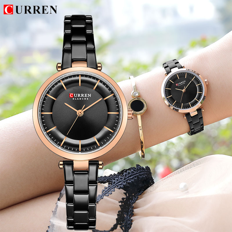 2019 CURREN Brand Fashion Watch Women Bracelet Analog Wristwatch Luxury Ceramic And Alloy Relogio Feminino Montre Relogio Clock