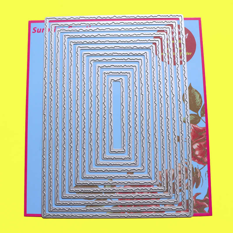 card making die cutting scrapbooking paper crafting stitched edge rectangle wave Die Set steel