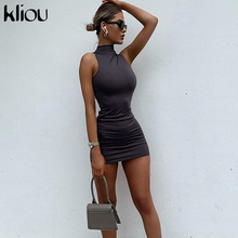 Kliou 2020 summer fitness sleeveless women turtleneck mini dress skinny solid bodycon stretchy streetwear casual female outfits