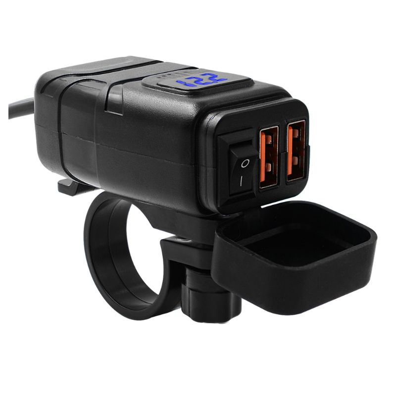 12V SEA To USB Adapter with Voltmeter ON OFF Switch Motorcycle Quick Disconnect Plug with Waterproof Dual QC3.0 USB Fast Charger