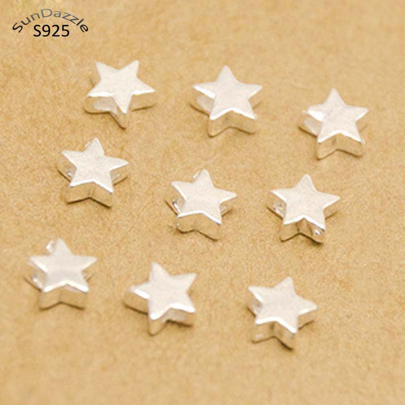 5-20pcs Real Pure Solid 925 Sterling Silver Beads Pentagram Loose Spacer Star Bead 4-7mm Bracelet Necklace Jewelry Making