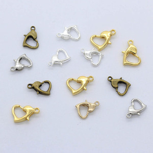 50pcs Heart Shape Lobster Clasp 10/12/14mm Connector Hook Accessories For DIY Jewelry Making Necklace Bracelet Chain Findings