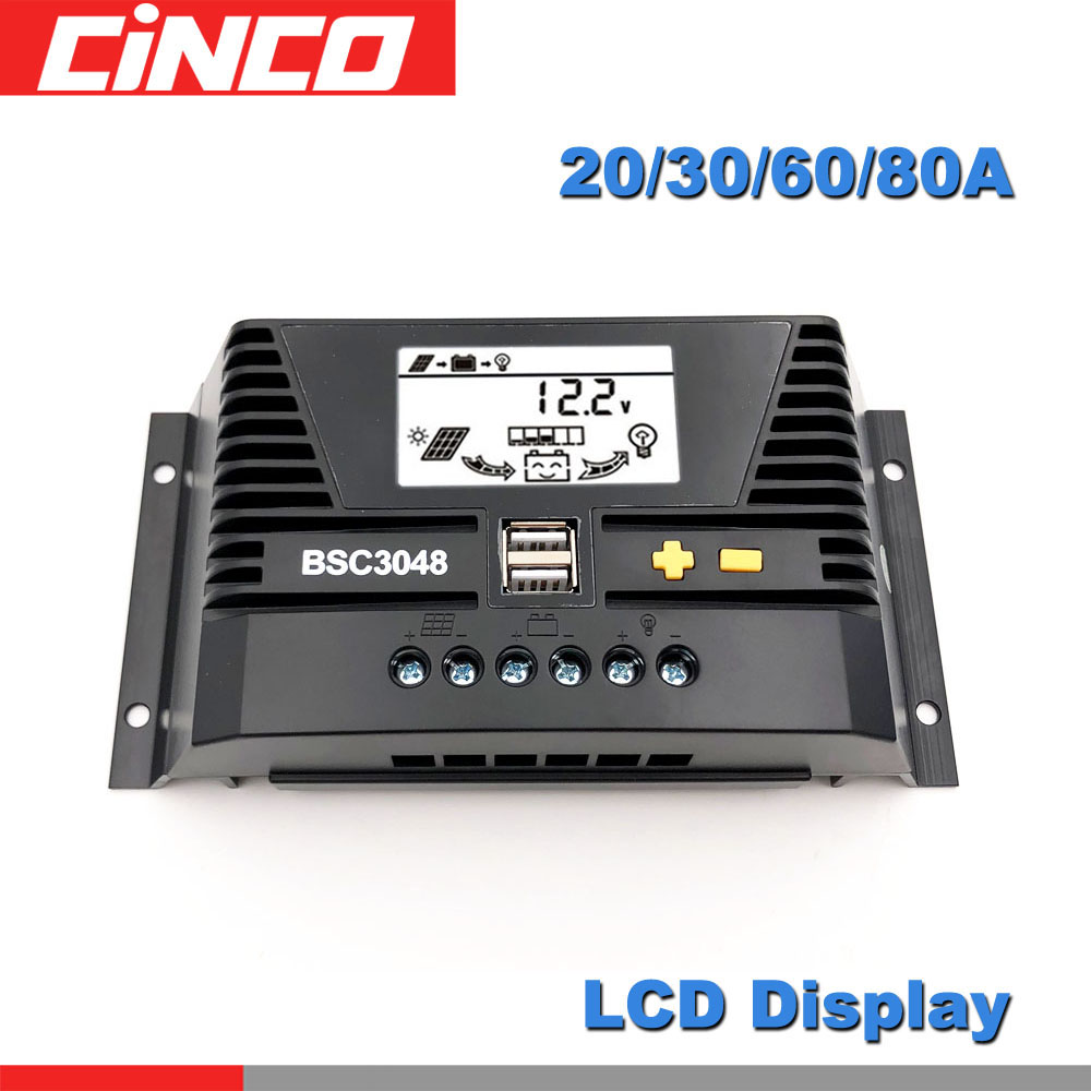 20A/30/40A/<font><b>50</b></font>/60/80A 12 24 36 48 V <font><b>Volt</b></font> PV Solar Charge Controller PWM <font><b>battery</b></font> charger PV Regulators LCD Display 5V Two USB image