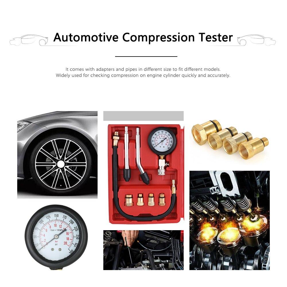 Testeur de Compression de moteur à essence Auto cylindre de moteur à essence testeur de manomètre Automobile Kit de Test Automobile 0-300psi