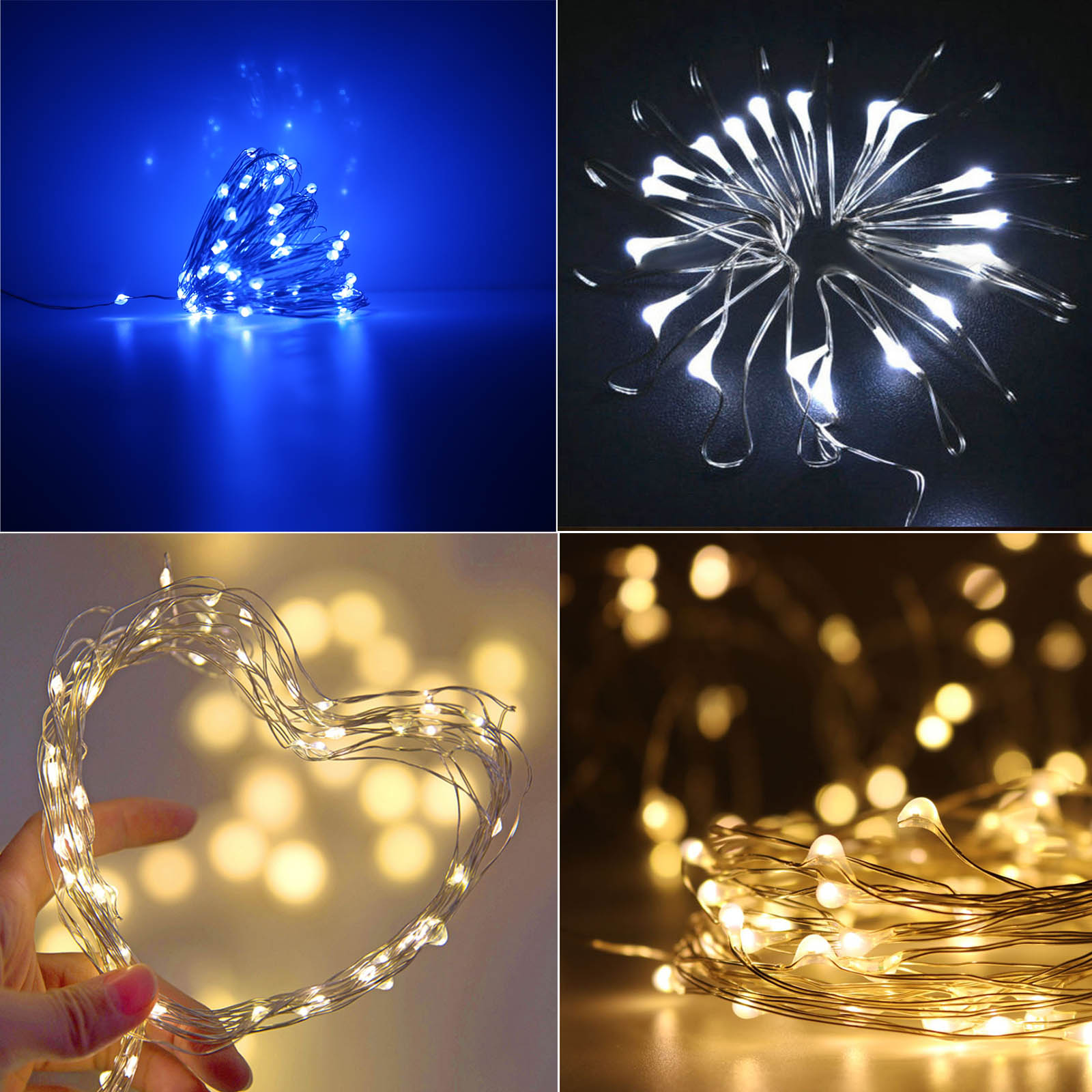 LED Copper Wire String Fairy Light 10M 5M 3M 2M 1M Garland Home Xmas Wedding Party Decor Powered By Battery USB LR44 CR2032 New