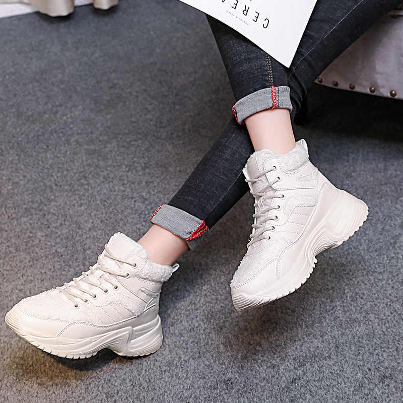 Kar Botları kadın Kış Ayakkabı 2019 Yeni Yüksek Top Spor Ayakkabı Platformu beyaz ayakkabı Kadife Kürk Sıcak Kar Botları kadın Çizme