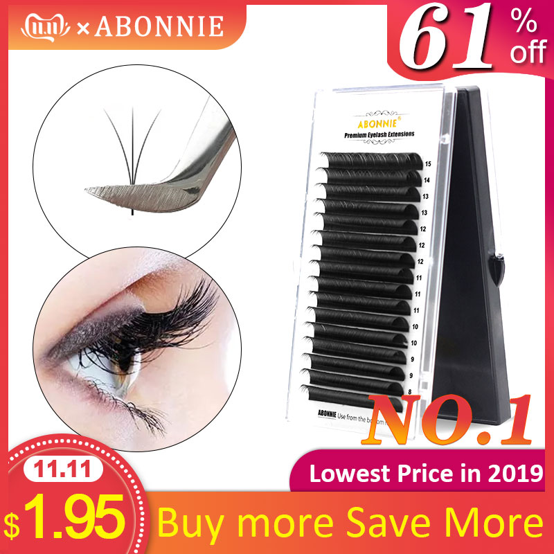 Abonnie 1 Case 0.05-0.25mm All Size 16 Row CD Eyelash Extensions Mink Eyelash Extension Mink Black Fake False Eyelashes Curl