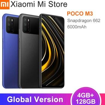 Перейти на Алиэкспресс и купить Глобальная версия POCO M3 мобильный телефон 4 Гб RAM 128 ГБ ROM Snapdragon 662 Octa Core 6,53 дюймFHD Аккумулятор 6000 мАч