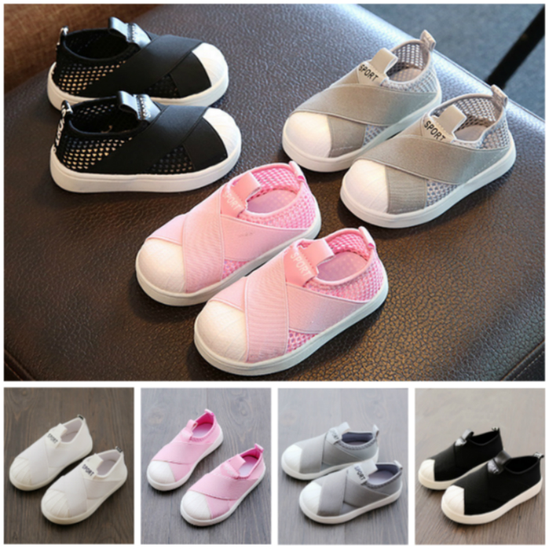 Kids Shoes For Baby Girls Canvas Toddler Sneakers For Baby Boys Loafer Anti-Slip Sole Breathable Mesh Outside For Children Flats