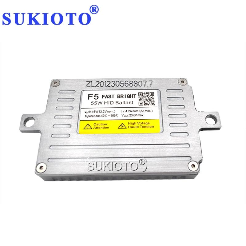 SUKIOTO AC 12V HID DLT Xenon Ballast 55W F5 Fast Start Slim Block Ignition For Car Headlight H1 H3 H7 H8 H11 HID Coversion Kit (2)