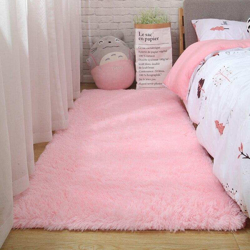 Tapis rose pour filles shaggy sol enfant tapis doux décoration chambre adolescent nordique rectangle rouge moelleux grande taille tapis