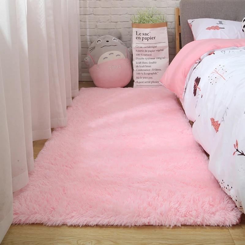 tapis rose pour filles shaggy sol enfant tapis doux decoration chambre adolescent nordique rectangle rouge moelleux grande taille tapis