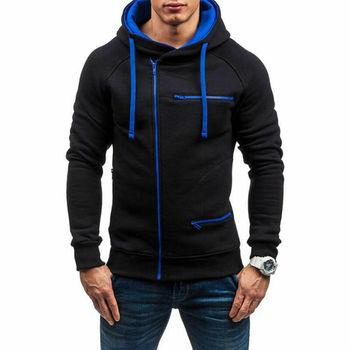 2019 Men's Long Sleeve Winter Warm Hoodie Male Solid Color Hooded Zipper Sweatshirt Outwear Plus Size