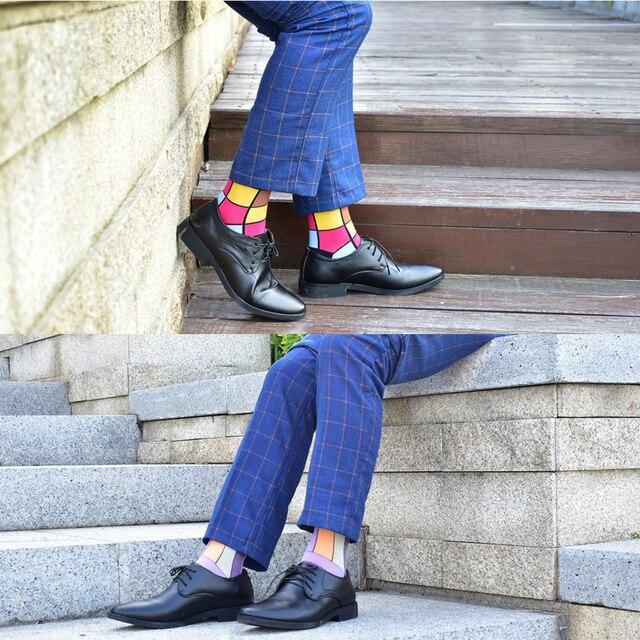 Colorful Autumn And Winter cotton socks geometric lattice classic business casual happy socks men 4