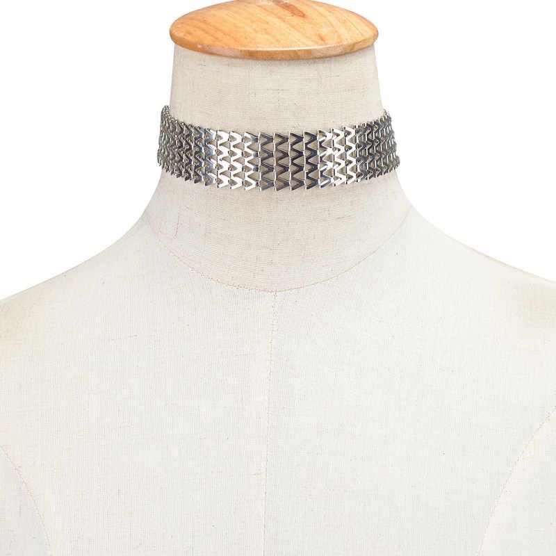 チョーカー Kolye ヨーロッパやアメリカのファッションジュエリーバンレトロ誇張バックルチェーンネックレス幾何学 V 襟