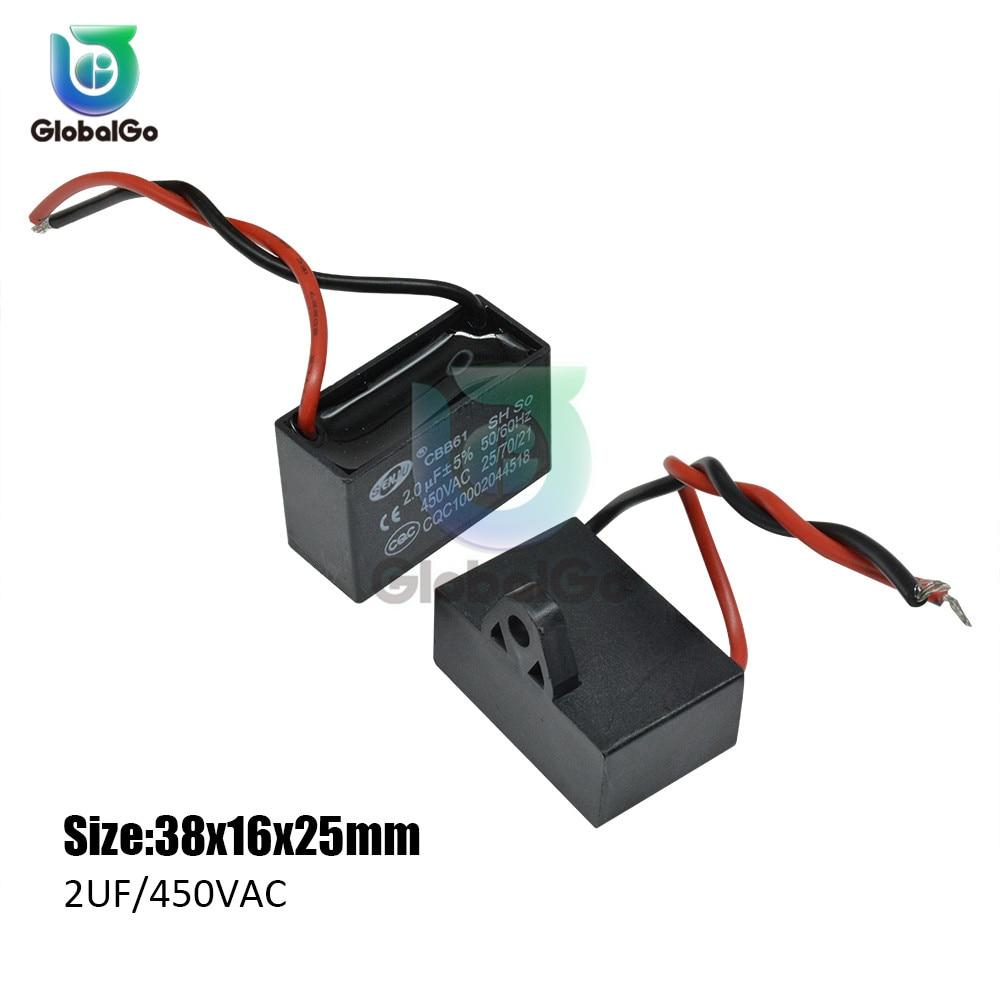 CBB61 игрушка конденсатор моторного двигателя, начиная с постоянной ёмкости, универсальный конденсатор переменного тока конденсатор вентилятора 450VAC 1 мкФ 1,2 мкФ 1,5 мкФ 2 мкФ 2,5 мкФ 3 мкФ 3,5 мкФ 4 мкФ 4,5 мкФ 6 мкФ - Цвет: 2UF 450VAC