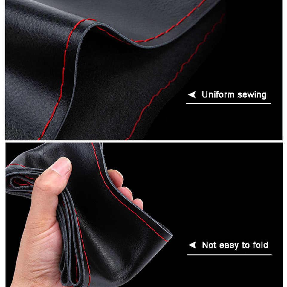 Autoyouth 革手縫いステアリングホイール四季の一般的な目的車ハンドル