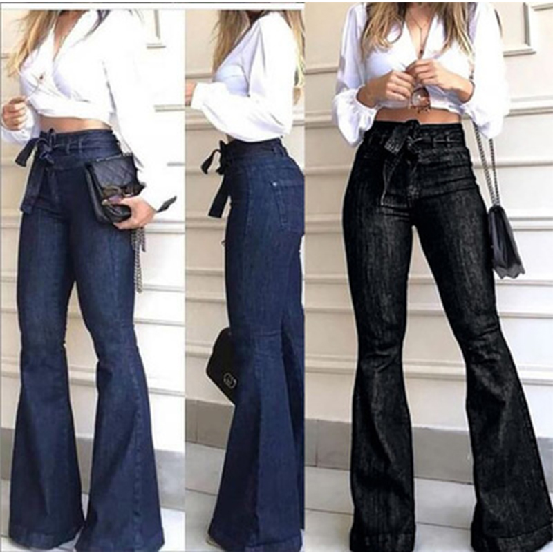 2020 Winter Faddish Vintage High Waist Jeans Mom Wide Leg Jeans For Women Plus Size Female Flared Black Denim Skinny Jeans Women