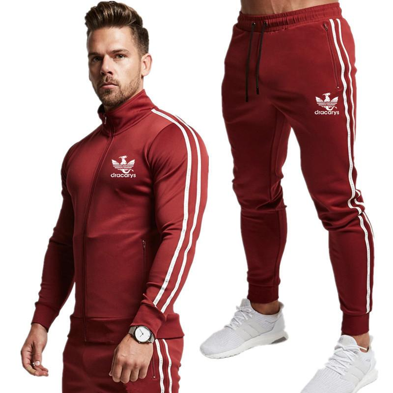 Image 2 - Brand New Zipper Men Sets Fashion Autumn winter Jacket Sporting Suit Hoodies+Sweatpants 2 Pieces Sets Slim Tracksuit clothing-in Men's Sets from Men's Clothing