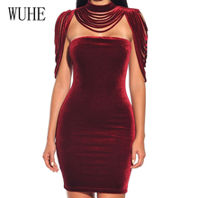 WUHE Women Sleeveless Velvet Dress Spring Sexy Club Solid Black Wine Red Bodycon Removable Collar Stretch Party Mini