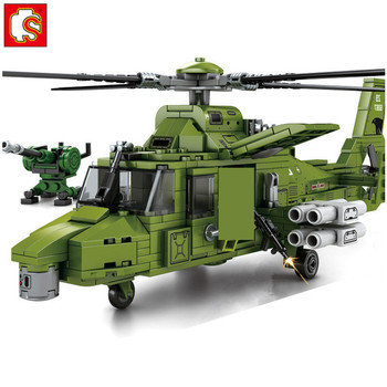 481Pcs WW2 World War II Military Armed Attack Helicopter With 3 Figures Building Blocks Sets Educational Kids Toys Sembo Block pre order general quality version 135 world war ii germany twelfth armored division resin toys