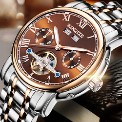 XINQITE Top Brand Men Mechanical Watches Stainless Steel Waterproof Automatic Watch With Calendar Week Year Noctilucent Function