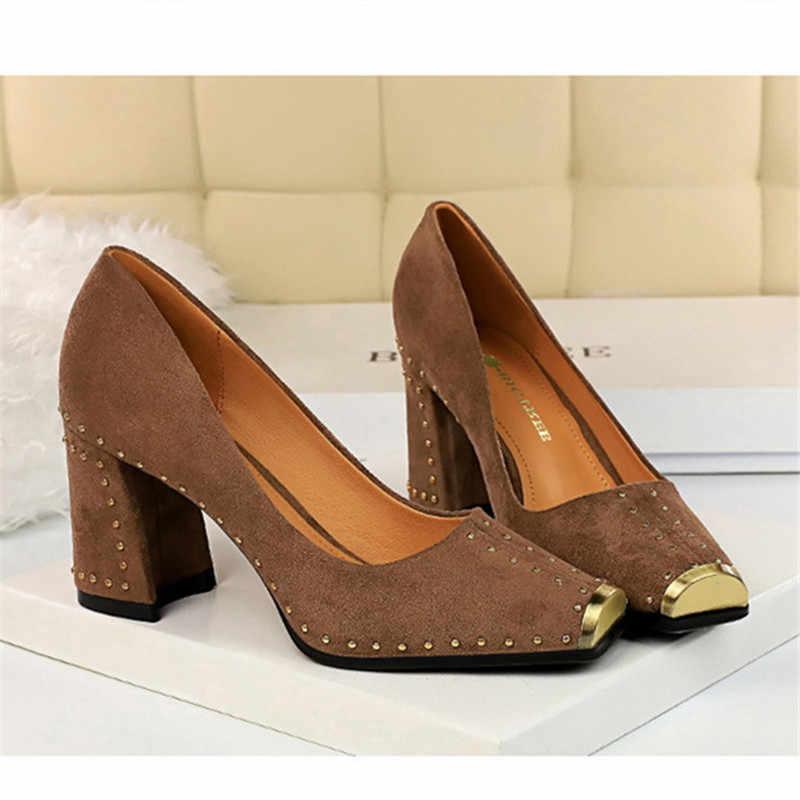 Bayan Ayakkabıları 2019 Lüks Kadın Ayakkabı Rahat Perçin Zarif Parti Seksi OL Yüksek Topuklu