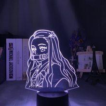 Lampada da tavolo 3d Demon Slayer Kimetsu No Yaiba Nezuko Kamado figura luce notturna a Led per arredamento camera da letto luce notturna regalo per bambini
