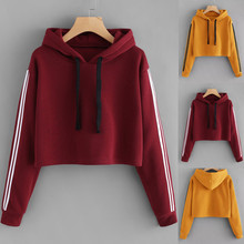 Color sólido con capucha Tops 2019 otoño Sudadera Mujer rayas manga larga Sudadera con capucha suéter con capucha blusa