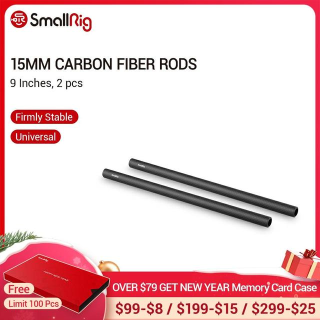"SmallRig 15 מ""מ מוטות סיבי פחמן (9 Inch) עבור מערכת תמיכת רכבת מוט 15 מ""מ/LCD הר/כרית כתף/עדשת תמיכה 1690"