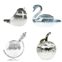 Desktop elegante cisne em forma de cristal previsão do tempo garrafa de vidro tempestade previsão do tempo monitor barômetro para decoração casa