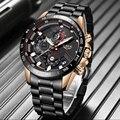 Мужские наручные часы LIGE  Роскошные водонепроницаемые кварцевые часы из нержавеющей стали  спортивные часы с хронографом для свиданий  2019