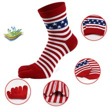 Men Colorful Stripe Socks Fashion Cotton Five Fingers Toe Deodorant Business Casual Europe Funny T