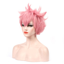 My Hero  College Luhu Sanai Cosplay Pink Short H Fluffy Layered Cosplay Wig Unisex Pink Synthetic Halloween Party Wigs + Wig Cap haikyuu volleyball oikawa tooru short brown shaggy layered cosplay wig cap girls cosplay wig free shipping