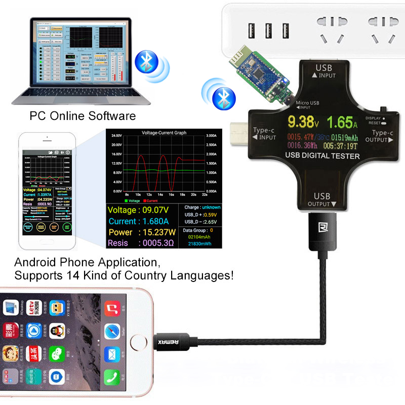 PD USB Color tester 12 in 1 DC Digital voltmeter current voltage Type C meter amp ammeter detector power bank charger indicator meter amp power detector amp meter - title=