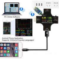 PD USB Farbe tester 12 in 1 DC Digital voltmeter strom spannung Typ-C meter amp amperemeter detektor power bank ladegerät anzeige