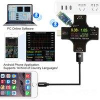Pd usb color tester 12 em 1 dc voltímetro digital atual tipo de tensão-medidor c amp amperímetro detector banco de potência carregador indicador