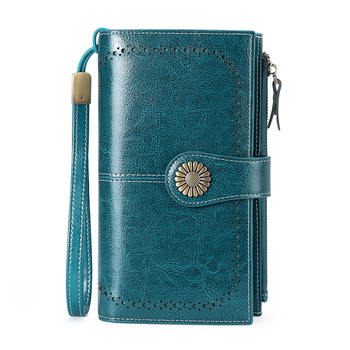 High Quality Women Clutch Cow Leather Wallet Female Long Wallet Women Zipper Purse Strap Money Bag Purse For IPhone 8 фото