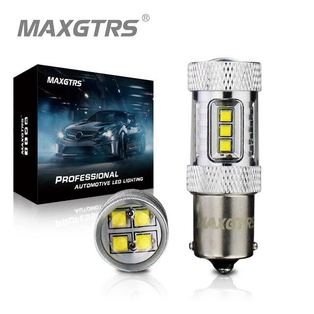 2x S25 1156 BA15S 30 واط 50 واط 80 واط P21W كري رقاقة XBD LED أبيض/أحمر/العنبر عكس ضوء احتياطية Led عكس مصباح مصادر ضوء