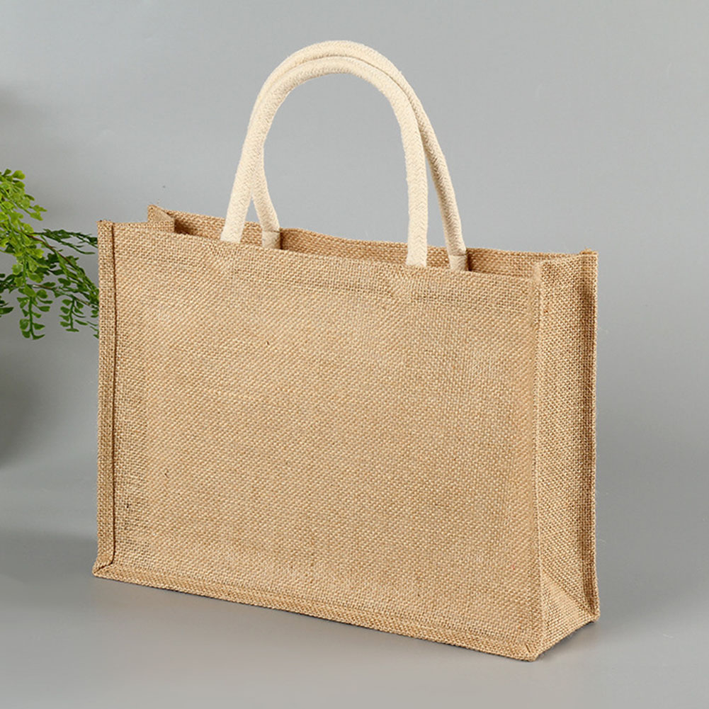 Presente de viagem de compras sólida quadrado casa casual multi uso com alça eco-friendly mulher bolsa de armazenamento tote juta