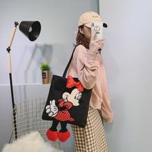 2019 New Mickey Minnie Handbag Women Canvas Bag Fashion Ladies Shopping Storage Bag Cartoon Female Shoulder Bag Tote Bolso Mujer