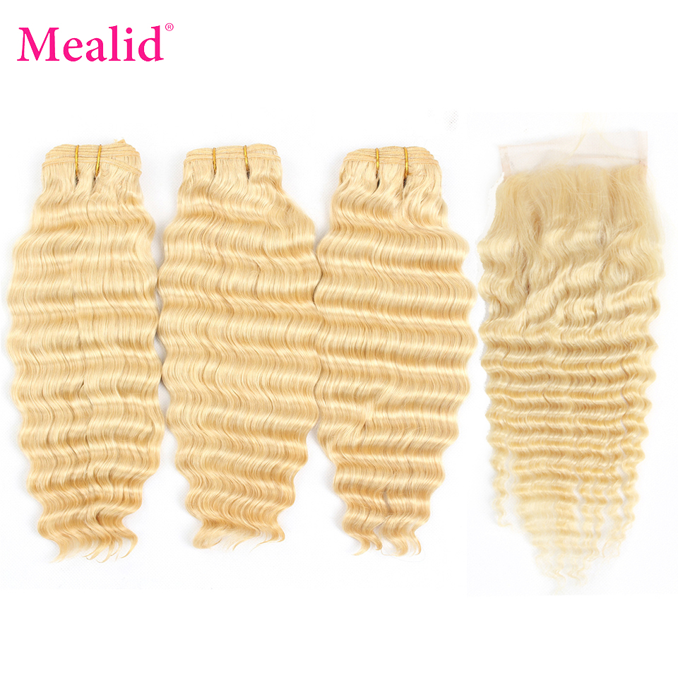 Mealid 613 Peruvian Deep Wave Bundles With Closure Free Part Remy Human Hair Weave Extensions Blonde Bundles With Closure image