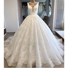 Princess Lace Wedding Dresses Sexy Neckline V Neck Ball Gown Lace Up Back Bridal Dress Custom Made vestido de noiva