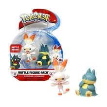 Genuine Pokemon Toys Munchlax Scorbunny Battle Figure Pack 2 Dolls 5cm PVC for Kids Gift