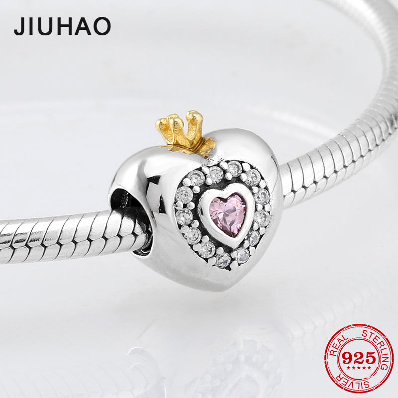Ultimate SaleReal Crown beads 925 Sterling Silver pink zirconia heart bead For womens accessories Fit Original Pandora Charm Bracelet Jewelry