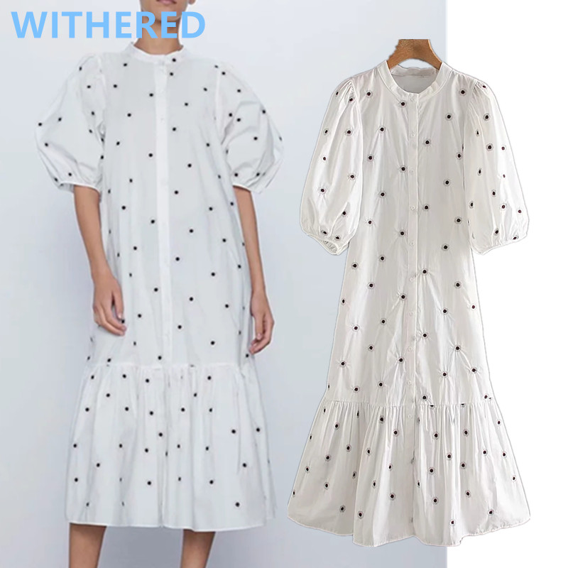 Withered England Indle Folk Vintage Embroidery Puff Sleeve Loose Midi Summer Dress Women Vestidos De Fiesta De Noche Vestidos