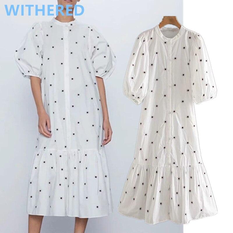 Withered England Indle Folk Vintage Embroidery Puff Sleeve Loose Midi Summer Dress Women Vestidos De Fiesta De Noche Vestidos